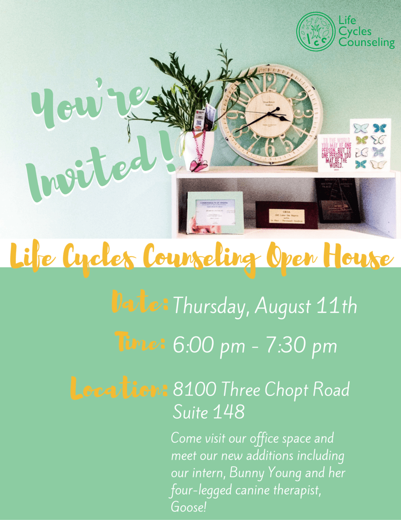 Life Cycles Counseling Open House, Richmond, VA
