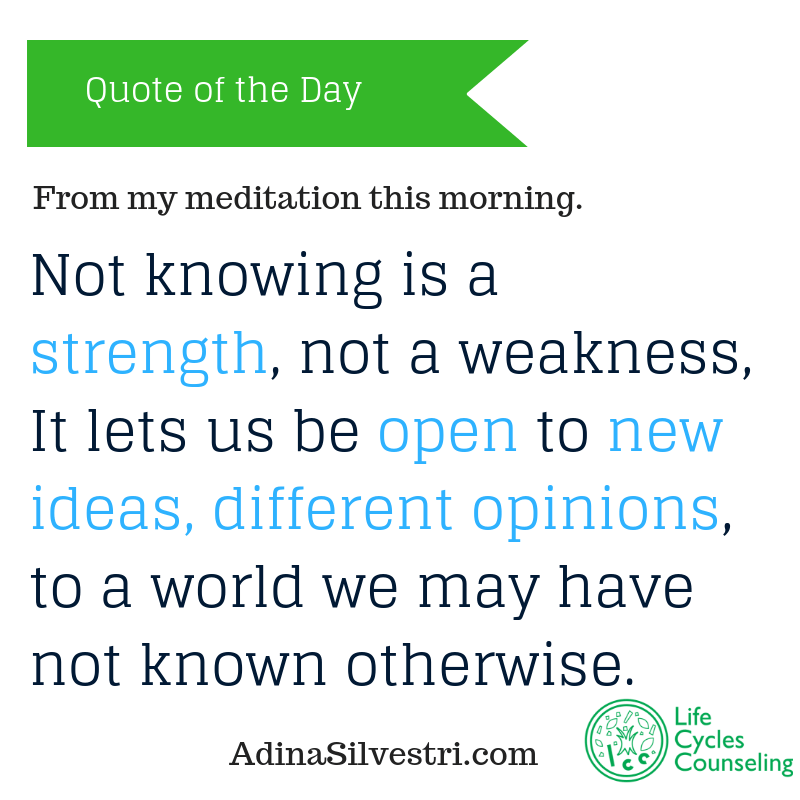 adinasilvestri.com quote of the day not knowing