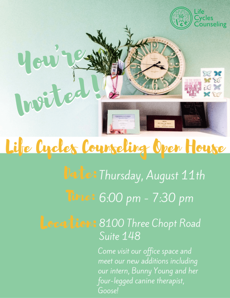 Open House at Life Cycles Counseling in Richmond, Virginia